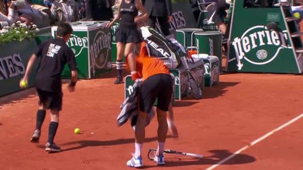 Video «Tennis: French Open, Final Djokovic - Wawrinka, Racketsmash Djokovic» abspielen