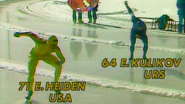 Video «Eisschnelllauf: Lake Placid 1980, Lauf von Eric Heiden (SRF Archiv)» abspielen