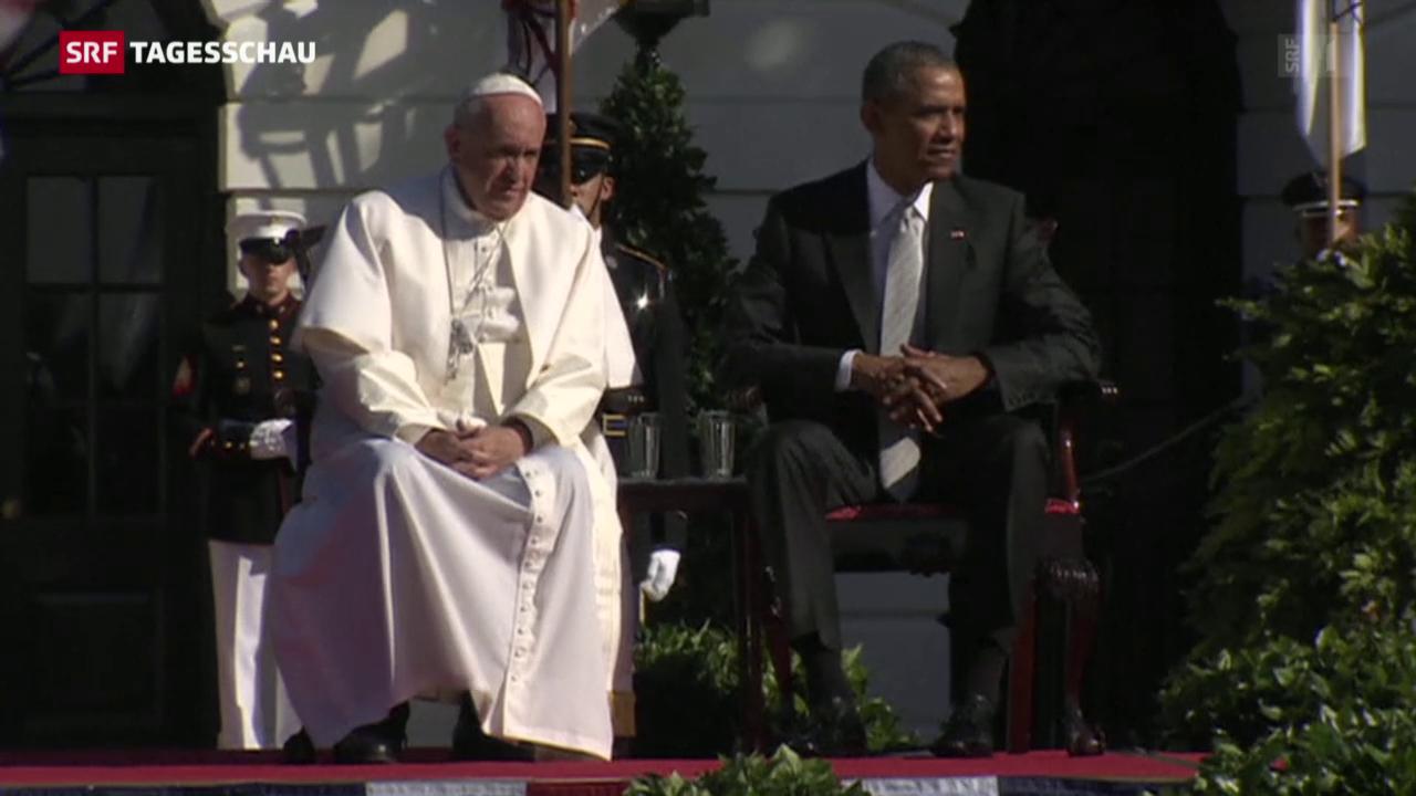 Papst ist von Obama empfangen worden