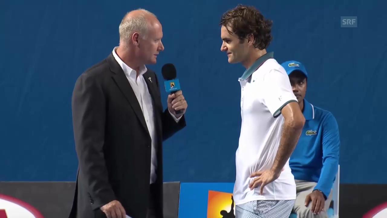 Tennis: Australian Open, Englisches Platzinterview mit Federer («sportlive», 16.1.2014)