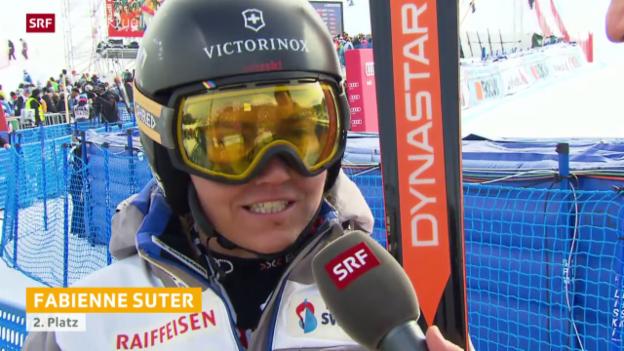 Video «Fabienne Suter wird Zweite beim Super-G in Lenzerheide» abspielen
