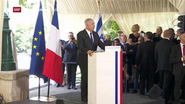 Video «Benjamin Netanjahu bei Gedenkveranstaltung in Paris» abspielen