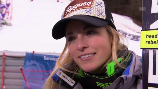 Video «Siegerinterview mit Lara Gut nach dem Super-G in Garmisch» abspielen