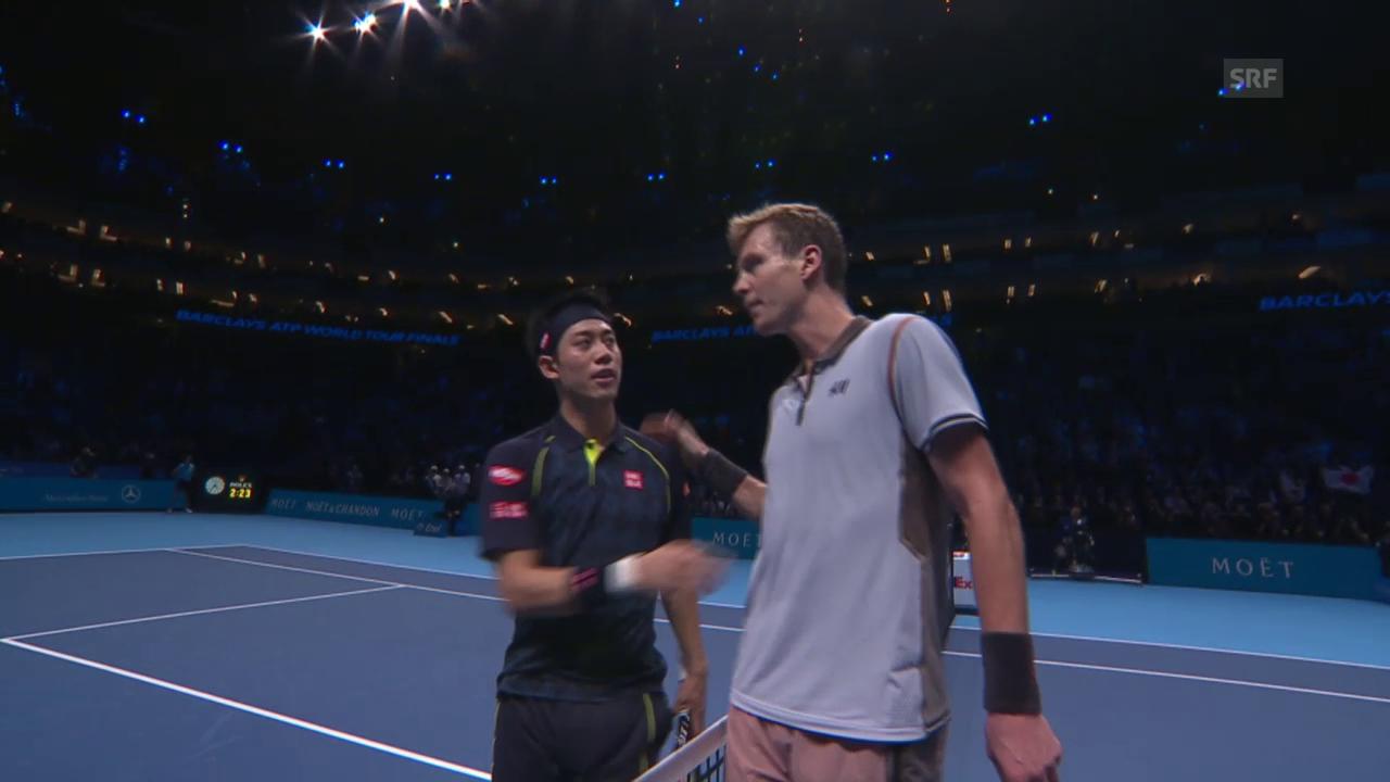 Tennis: ATP Finals, Zusammenfassung Nishikori - Berdych