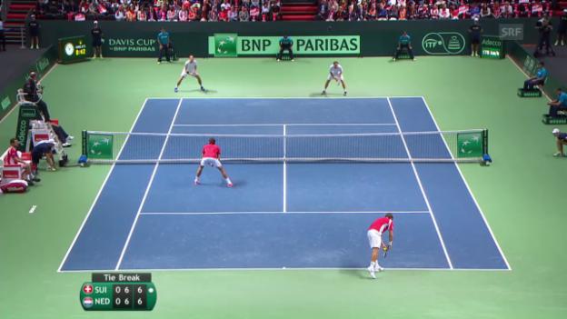 Video «Tennis: Davis-Cup, Schweiz - Niederlande, Highlights Doppel» abspielen