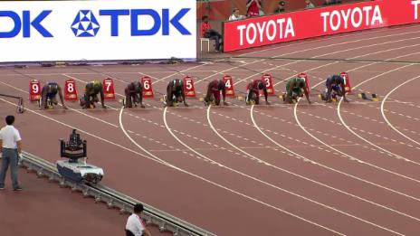 Video «Leichtathletik: WM Peking, 100-m-Halbfinal mit Justin Gatlin» abspielen