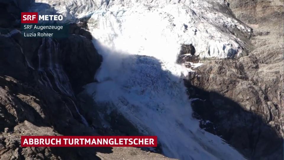 Gletscherabbruch am Turtmanngletscher im Wallis am 6. August 2020