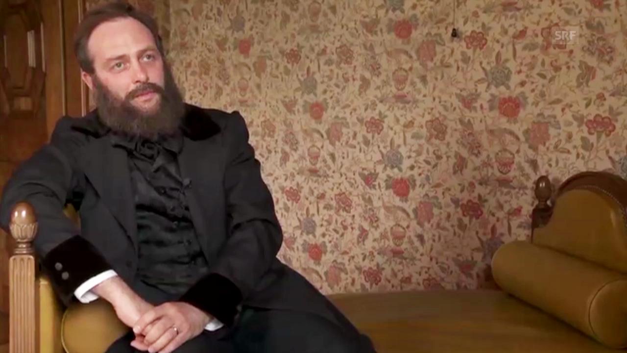 Interview mit Alfred Escher, gespielt von Samuel Weiss
