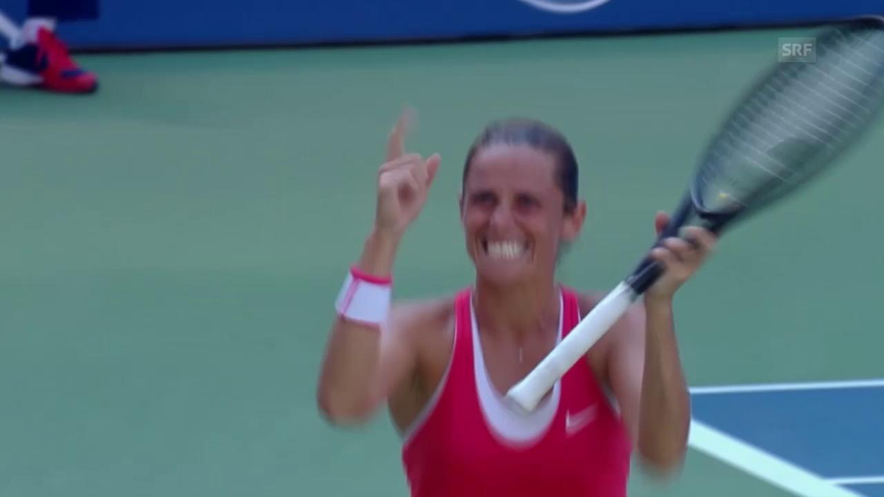 Tennis: US Open 2015, Frauen-Viertelfinal, Roberta Vinci - Kristina Mladenovic