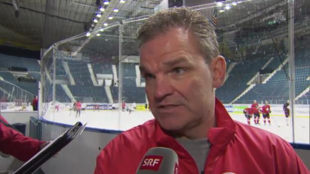Video «Nati-Coach Sean Simpson zum bevorstehenden Spiel gegen Slowenien» abspielen