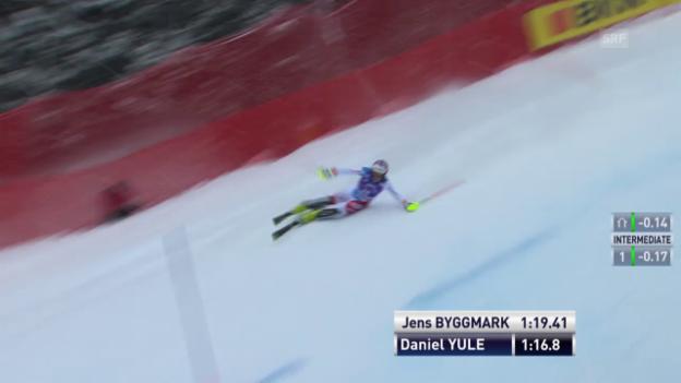 Video «Der Kurzauftritt von Daniel Yule im 2. Lauf» abspielen