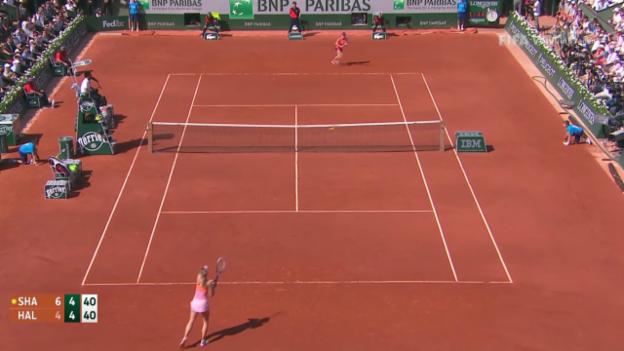 Video «Tennis: French Open, spektakulärer Ballwechsel zwischen Halep und Scharapowa» abspielen