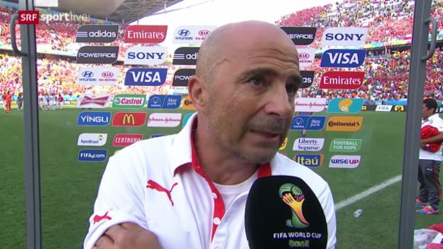 Video «Fussball: FIFA WM 2014, 3. Spieltag Gruppe B, Niederlande - Chile, Interview mit Jorge Sampaoli» abspielen