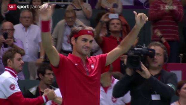 Video «Tennis: Davis-Cup-Barrage, Federer-De Bakker» abspielen