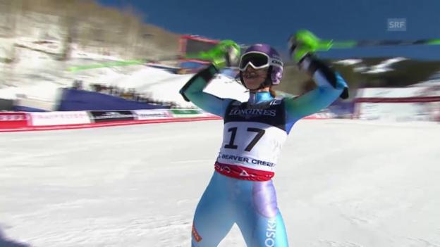 Video «Ski alpin: WM 2015 in Vail/Beaver Creek, Super-Kombi der Frauen, Slalom, Siegerin Tina Maze» abspielen