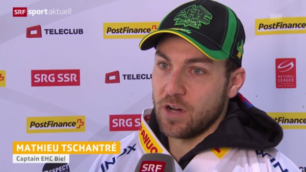 Video «Eishockey: NLA Interviews Freiburg - Biel («sportaktuell»)» abspielen