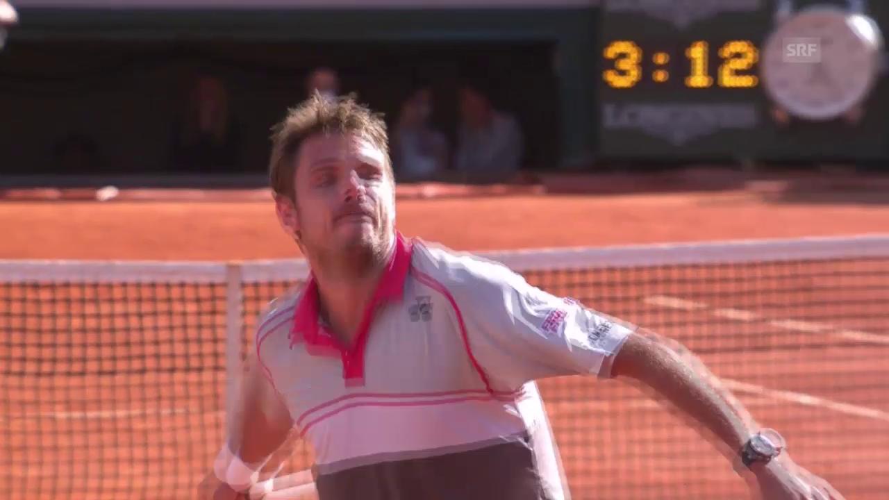 Tennis: French Open Final; Djokovic - Wawrinka, Matchball