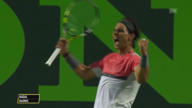 Video «Tennis: ATP Miami, Nadal-Raonic, entscheidende Ballwechsel» abspielen