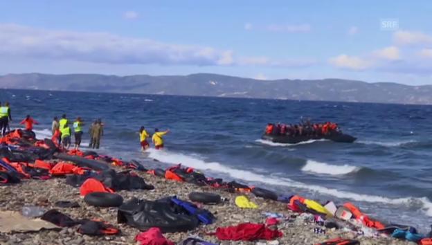 Video «Flüchtlinge kommen auf Lesbos au (unkomm.)» abspielen