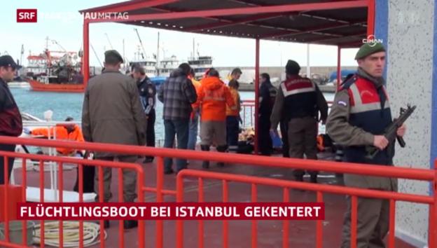 Video «Flüchtlingsboot kentert bei Istanbul» abspielen