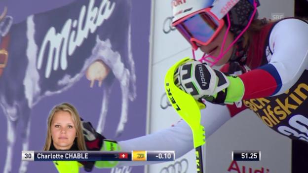 Video «Ski Alpin: 2. Slalom Aspen, 2. Lauf, Charlotte Chable» abspielen