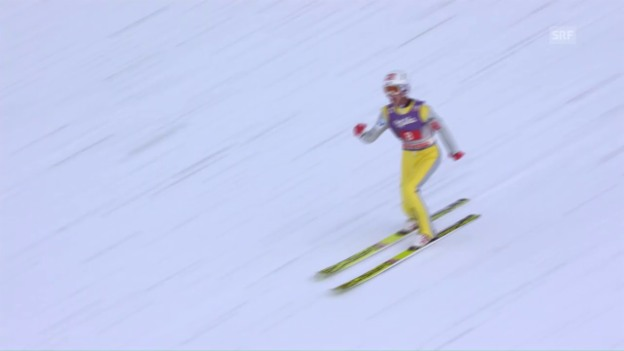 Video «Garmisch-Partenkirchen: Tande siegt, Ammann enttäuscht» abspielen
