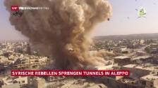 Video «Rebellen sprengen Tunnels in Aleppo» abspielen