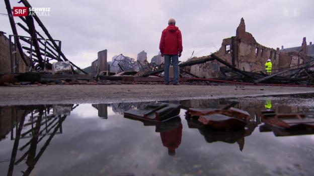 Video «Zerstörung nach Grossbrand» abspielen