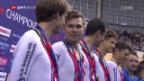 Video «Schweizer Bahnrad-Vierer holt Silber in der Teamverfolgung» abspielen