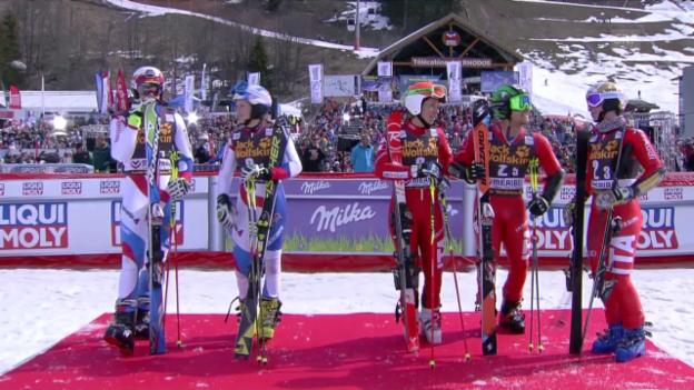 Video «Ski: Team-Event Méribel, Halbfinal Schweiz - Italien, Duell Murisier - Razzoli» abspielen