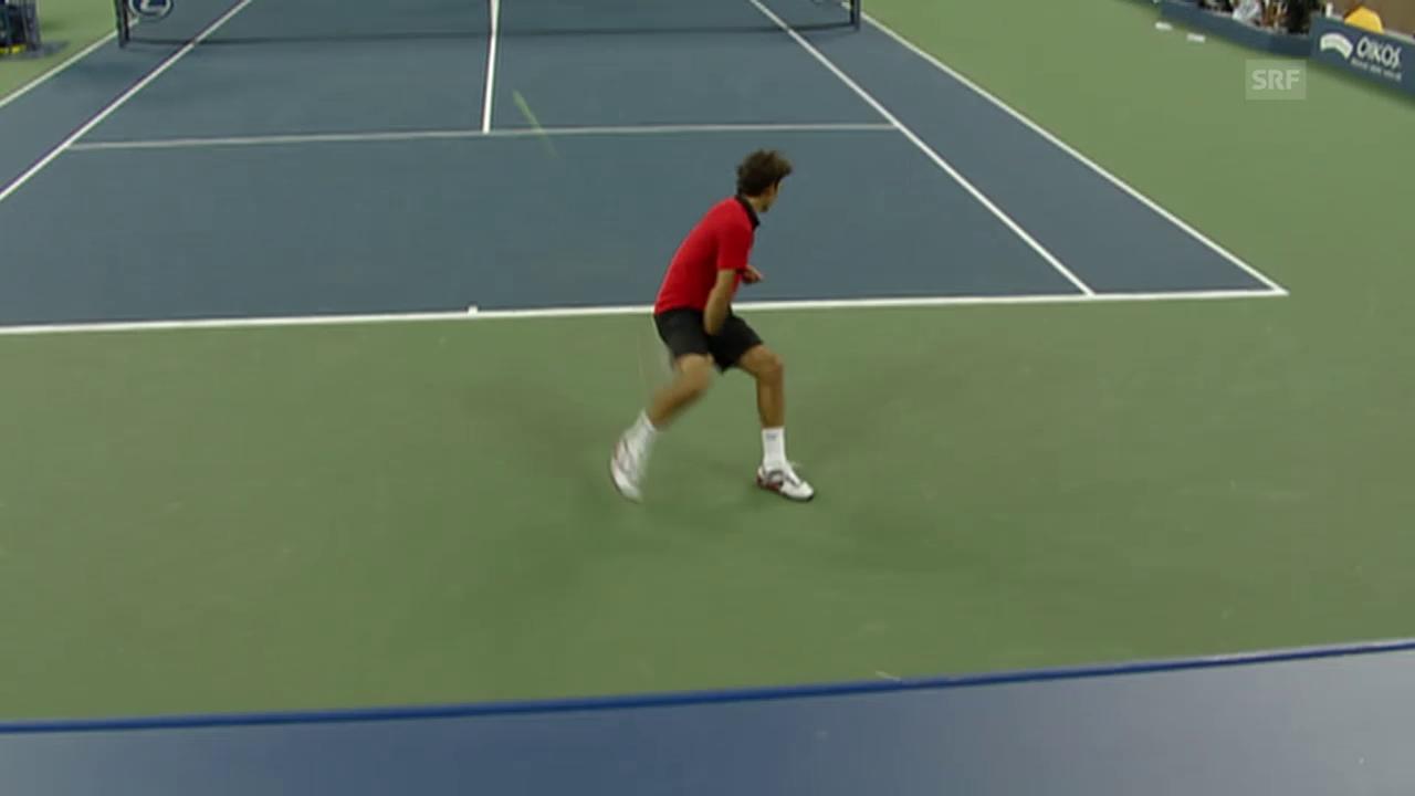 Tennis: Australian Open 2009, Tweener von Federer gegen Djokovic