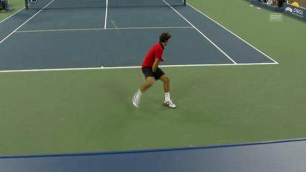 Video «Tennis: Australian Open 2009, Tweener von Federer gegen Djokovic» abspielen