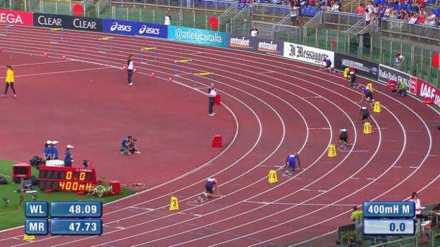 Video «Leichtathletik: Diamond League Meeting Rom, 400m Hürden, Hussein 5.» abspielen