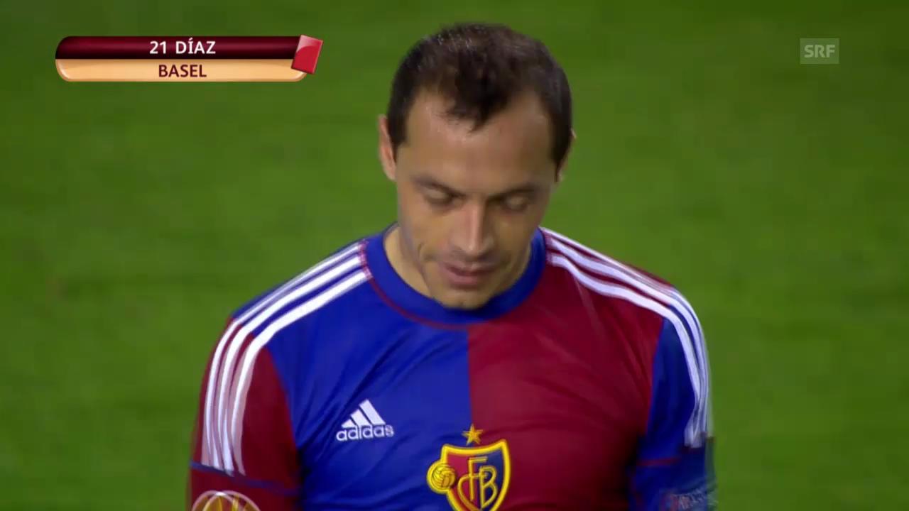 Europa League, Valencia-Basel: Rote Karten von Diaz und Sauro