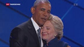 Video «Obama lobt und knuddelt Hillary Clinton» abspielen