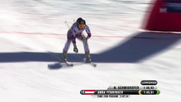 Video «Ski-WM Vail/Beaver Creek: Die Fahrt von Anna Fenninger» abspielen