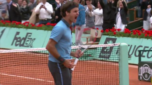 Video «French Open 2009: Federer gewinnt episches Duell gegen Del Potro» abspielen