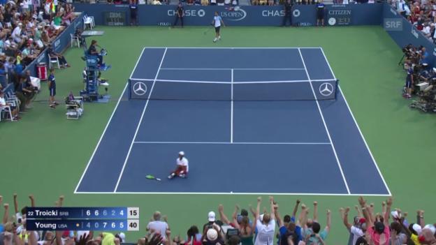 Video «Tennis: US Open 2015, 3. Runde, Young - Troicki» abspielen