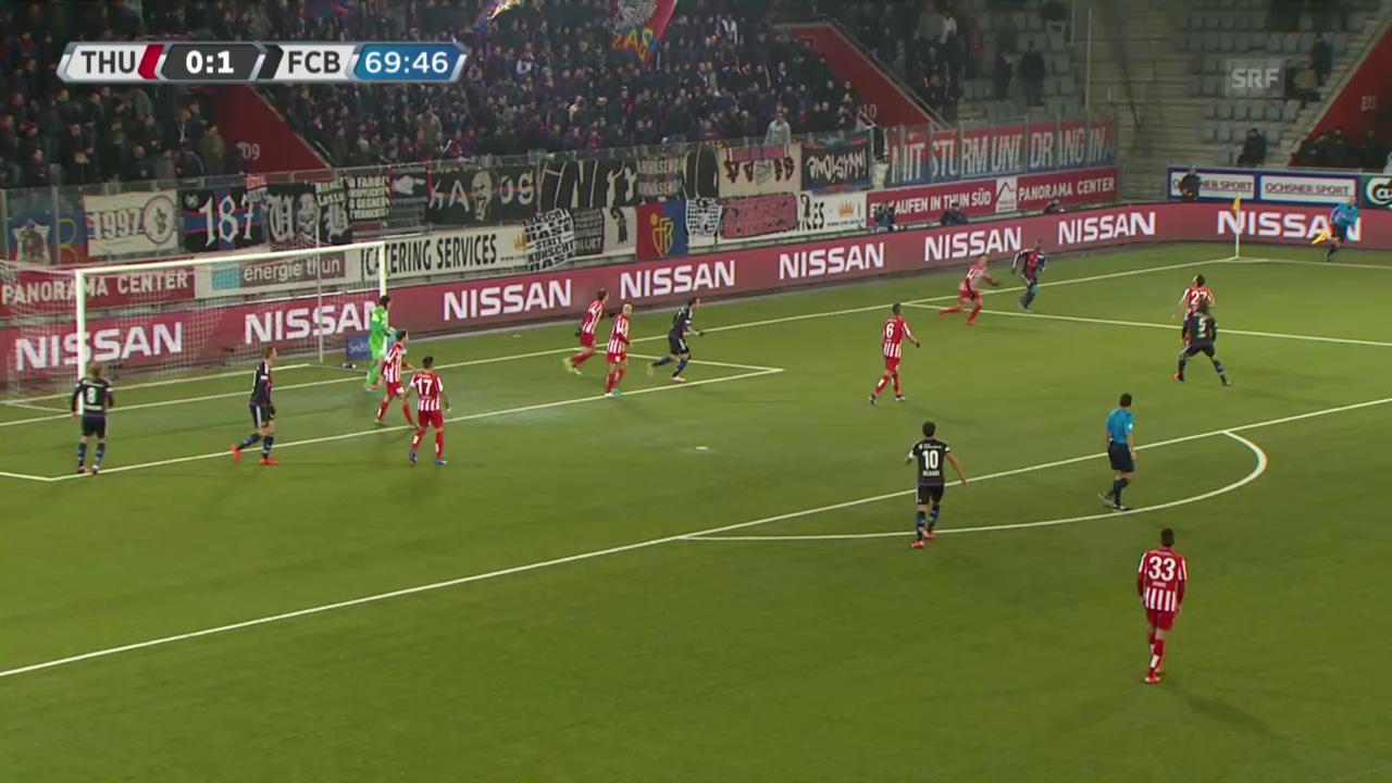 Fussball: Super League, Thun - Basel, 2:0 durch Janko