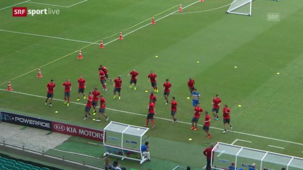 Video «Die Vorbereitung auf das Frankreich-Spiel» abspielen