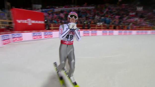 Video «Skispringen: Nordisch-WM Falun, Grossschanze, 2. Sprung von Severin Freund» abspielen
