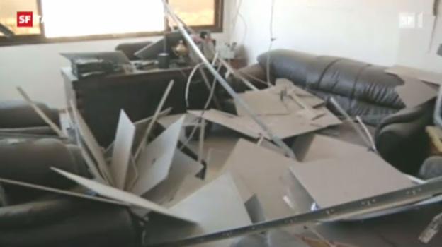 Video «Eine israelische Rakete hat das Kommunikationszentrum in Gaza-Stadt getroffen. («Tagesschau am Mittag» vom 18.11.2012)» abspielen