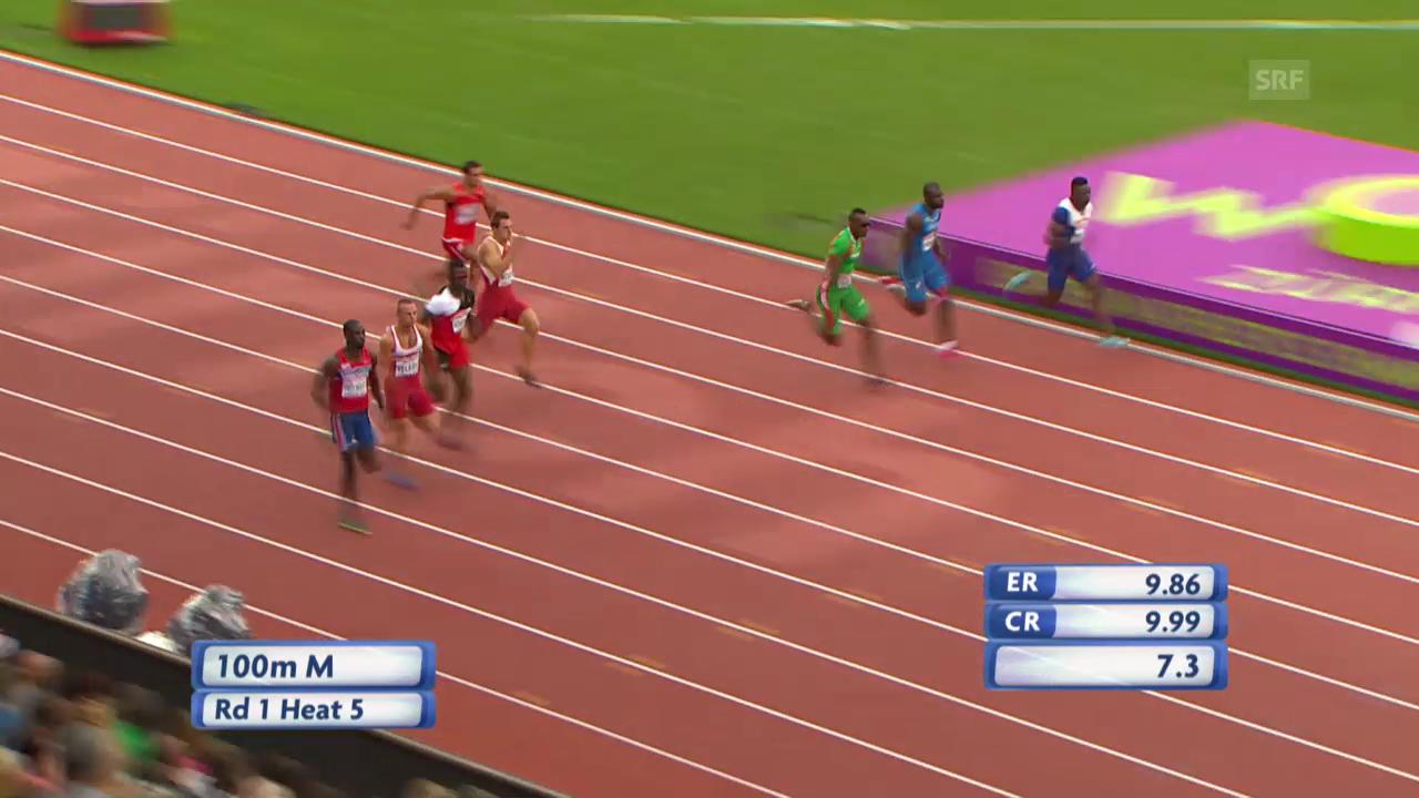 LA-EM: 100 m Männer, Vorlauf von Amaru Schenkel