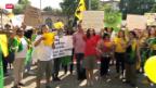 Video «Brasilianer demontrieren in Zürich» abspielen