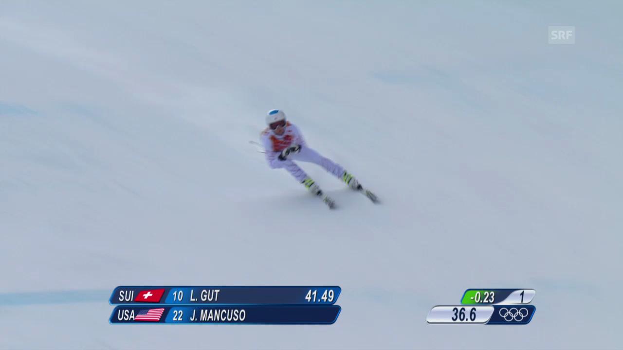 Ski: Kombi-Abfahrt Frauen, Fahrt Julia Mancuso (sotschi direkt, 10.02.2014)