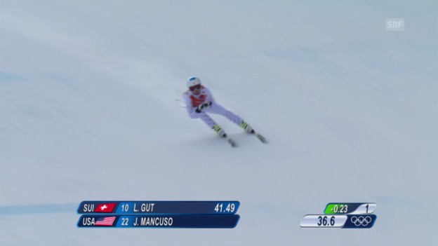 Video «Ski: Kombi-Abfahrt Frauen, Fahrt Julia Mancuso (sotschi direkt, 10.02.2014)» abspielen