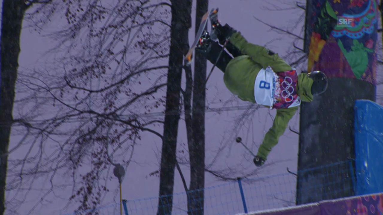 Ski Freestyle: Qualifikation Halfpipe, der 1. Run von Yannic Lerjen (sotschi direkt, 18.02.2014)