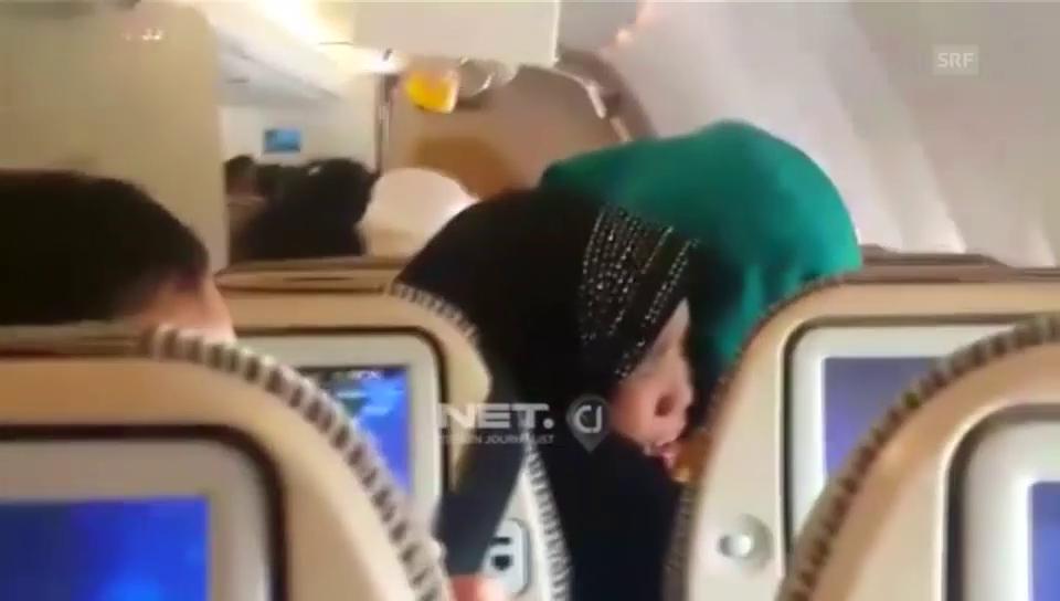 Panik unter den Flugpassagieren