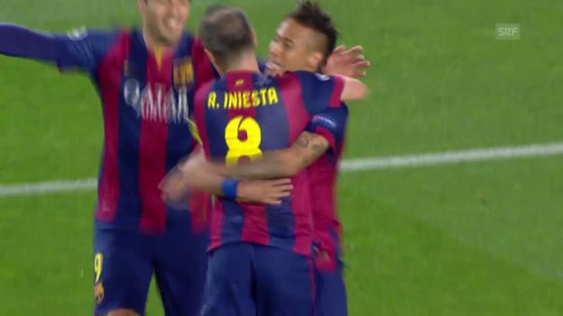 Video «Fussball: Champions League, Barcelona-PSG, Solo Iniesta» abspielen