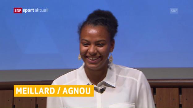 Video «Caroline Agnou und Loic Meillard geehrt» abspielen
